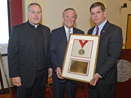 Mayor Walsh receiving 2014 Cardinal Cushing Award